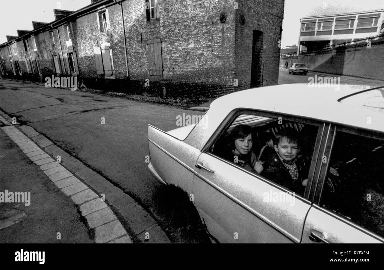 Kids in a car, Longwy, France Stock Photo