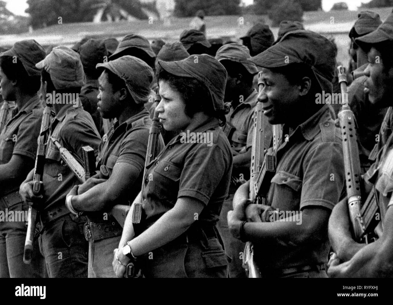 militiamen (and Woman) at MPLA parade, Luanda, Angola - Stock Image