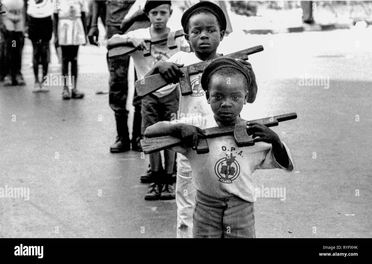 Children at MPLA Parade, Luanda, Angola - Stock Image