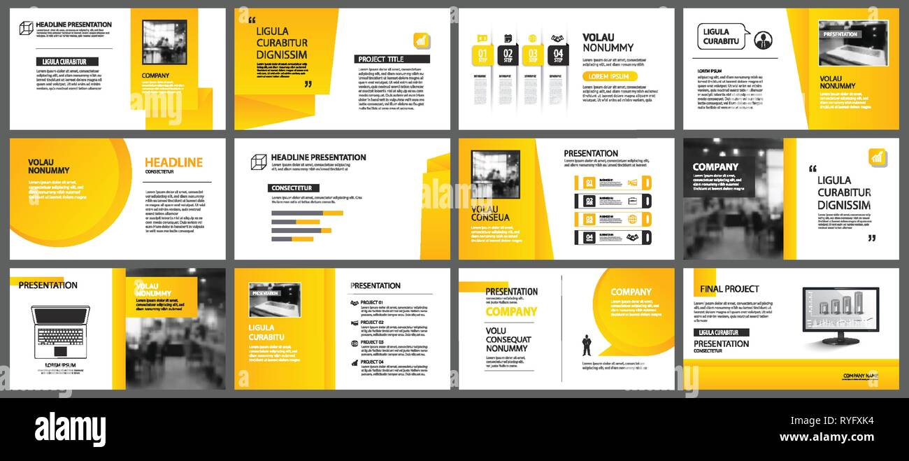 Presentation and slide layout template  Design yellow and