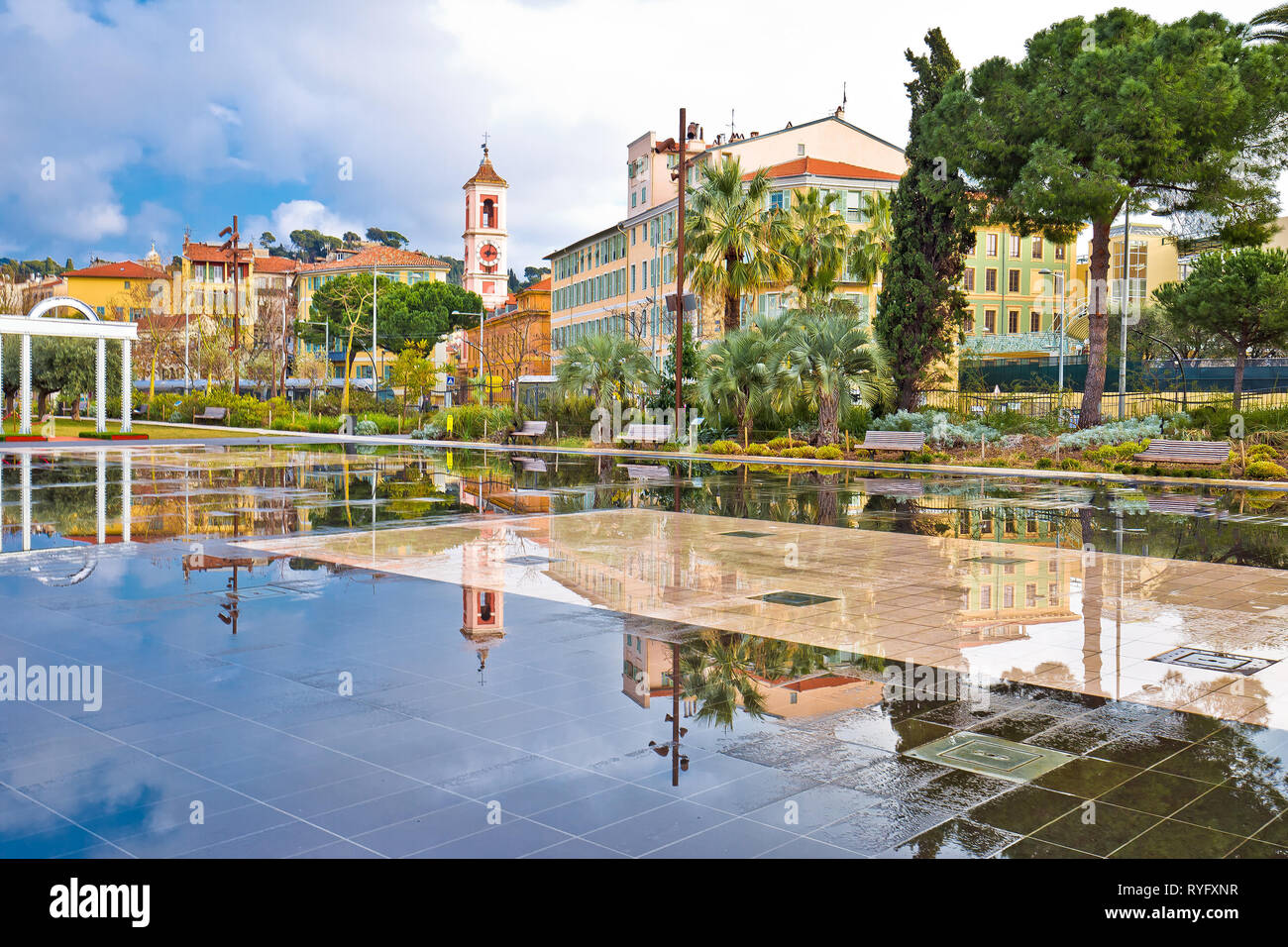 Nice cityscape and park fountain mirror view, Alpes-Maritimes region of France Stock Photo