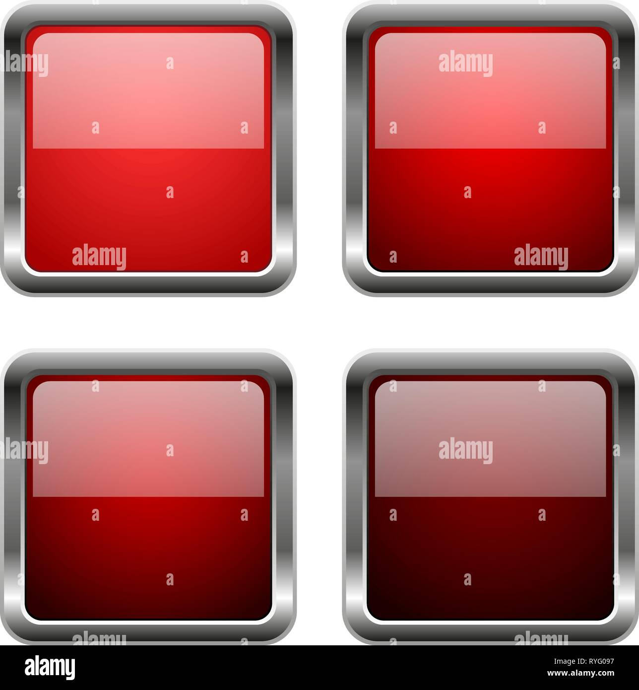Red glass square buttons with chrome frame Stock Vector Art