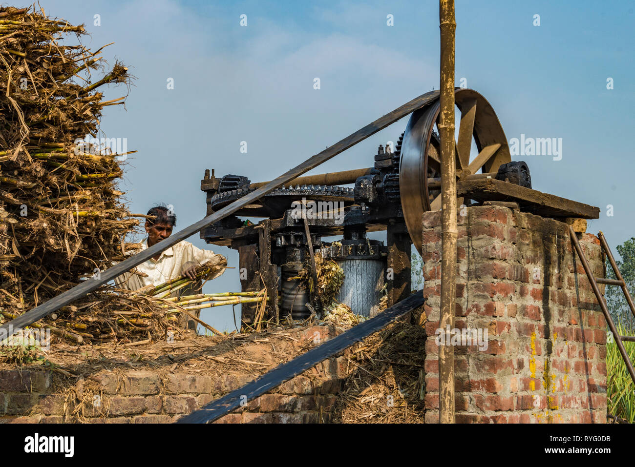HIMACHAL PRADESH, INDIA,Worker operating a squeezing machine for sugar cane in rural India - Stock Image