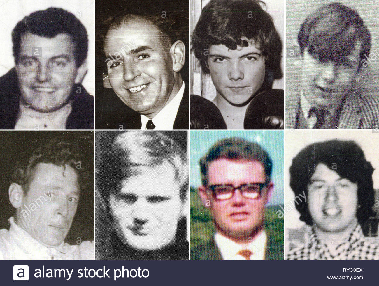BEST QUALITY AVAILABLE Bloody Sunday Trust undated handout photos of (top row, left to right) Patrick Doherty, Bernard McGuigan, John 'Jackie' Duddy and Gerald Donaghey, (bottom row, left to right) Gerard McKinney, Jim Wray, William McKinney and John Young who were killed on Bloody Sunday. Northern Ireland's Director of Public Prosecutions has announced that a solider will face prosecution for the murders of James Wray and William McKinney and the attempted murders of Joseph Friel, Michael Quinn, Joe Mahon and Patrick O'Donnell. - Stock Image