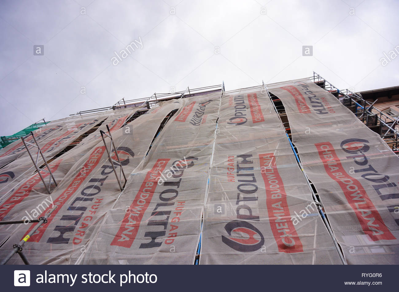 Poznan, Poland - March 8, 2019: Building under renovation by the Ptolith construction company. Stock Photo
