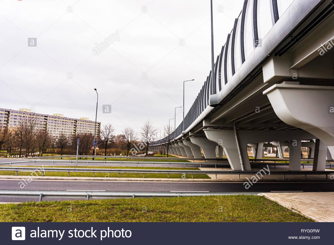 Poznan, Poland - March 3, 2019: Road and bridge on the Inflancka street. Stock Photo