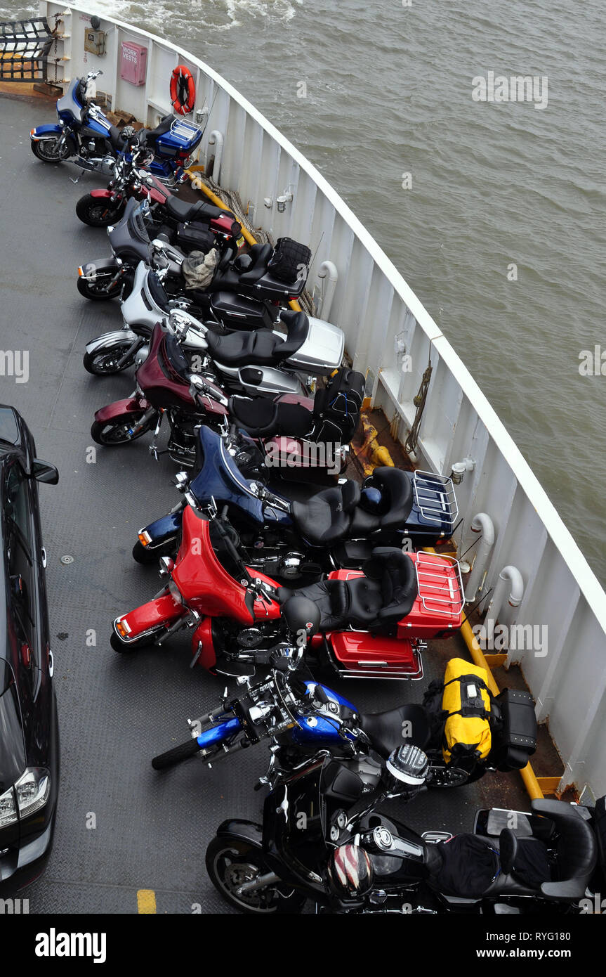 Bikes parked on the Cape May - Lewes Ferry on their way to Bike Week in Ocean City, Maryland - Stock Image