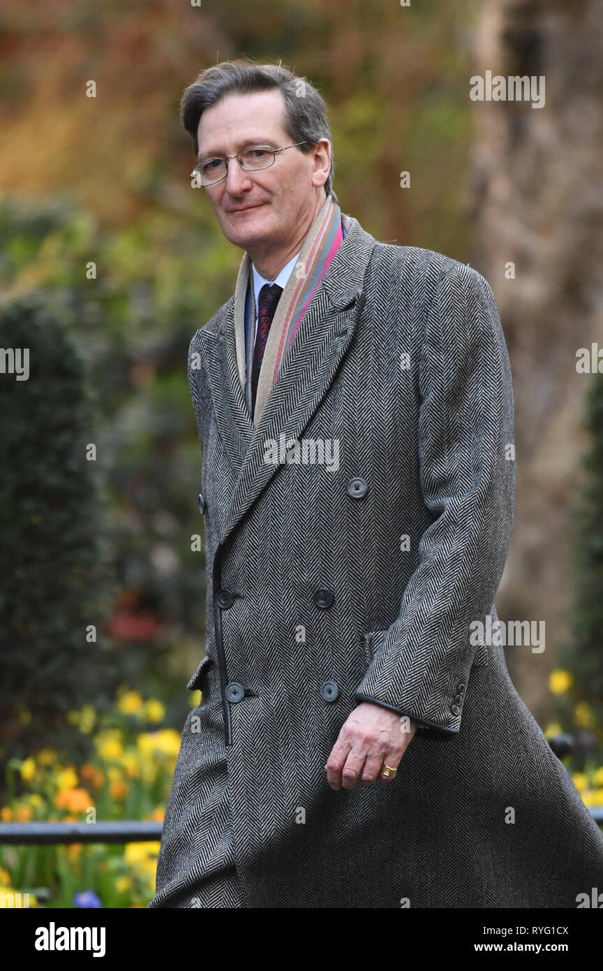Dominic Grieve MP in Downing Street, London, on the day of a debate on extending Article 50 Brexit negotiations at the House of Commons. Stock Photo