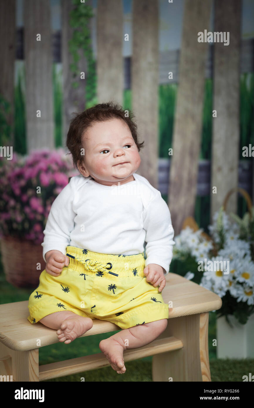Reborn baby. Vinyl doll sculpt, Coco Malu, by Eliza Marx. A reborn is an anatomically correct doll made from vinyl and hand painted to give the appear - Stock Image