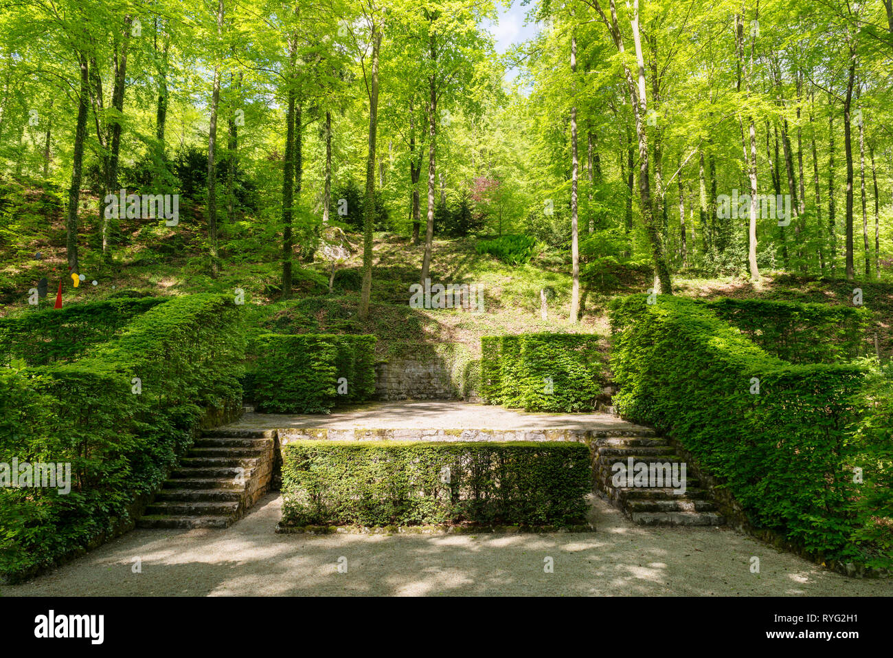 """Steps by hedges on grounds of Schloss Unterleinleiter in Bavaria, Germany"" Stock Photo"