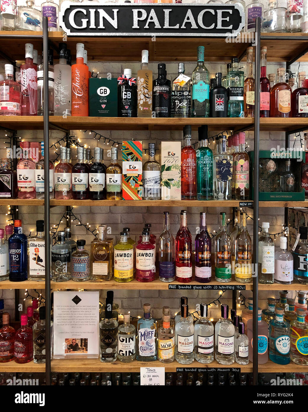 A Gin Palace - A large collection of speciality, craft and bathtub gins. Stock Photo