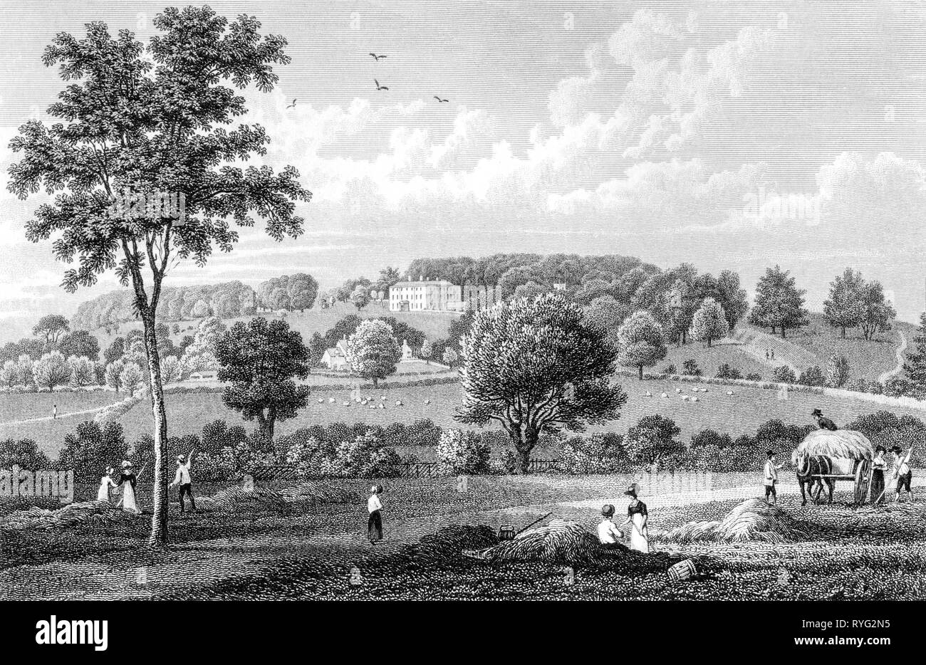 An engraving of Rendcomb, Gloucestershire UK scanned at high resolution from a book published in 1825.  Believed copyright free. - Stock Image