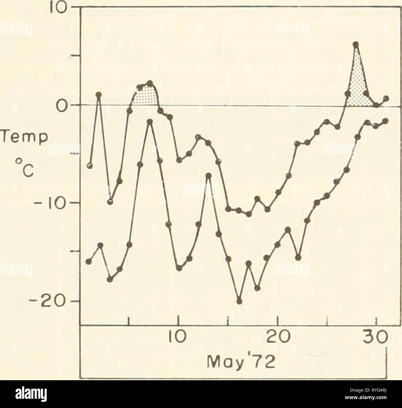 Ecological investigations of the tundra biome in the Prudhoe Bay region, Alaska  ecologicalinvest00brow Year: 1975  22    Fig. 8. Air temperature plot for May 1972. - 5 Temp, C -10 -5 0 01 Density, g cm'^ 3 0,20 0,30 0.40 0,50 r * ⦠⦠â â¢- ^ ⢠1 ' 1 1 1 1 1 ' 1 t 1 , I so ^ £ 60 H 40 I 20 ^ â¢'-^^-^ ^ *' a. 28 meters east of P2 (6 meters east of rood) Temp, C Density, g cm'* -15 -10 -5 0 010 0,20 0.30 0.40 0,50 r 1 â¢^ t » t -1 1 1 1 1 1 1 1 1 â â I' ,±. ( â o o 'â ' ' . '-^''/^^A i 1 i b, 40 meters eost of P2 Temp,°C Density, g cm'* 15 -10 -5 0 0,10 0,^0 0,30 040 0 50 |20 o 0 c, 90 me - Stock Image