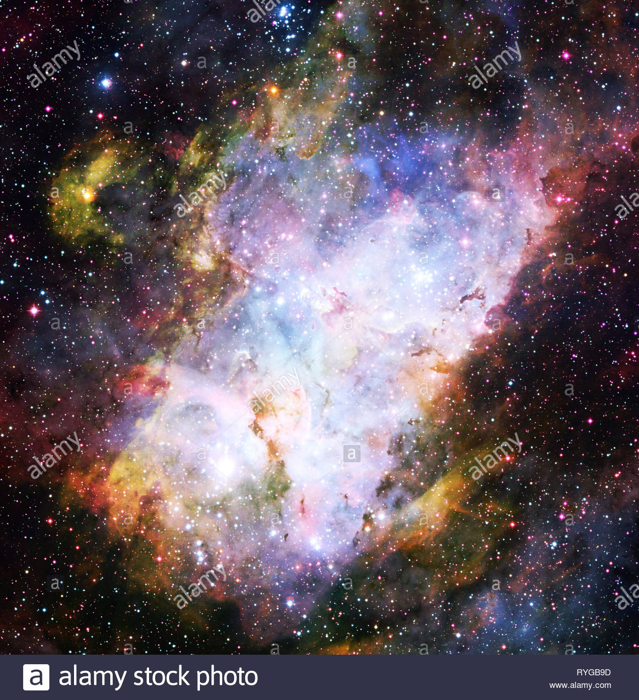 composite of stars and nebula for an imaginary space image background - Stock Image