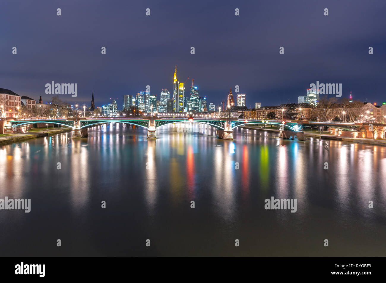 Night view of skyline of Frankfurt financial district in Germany - Stock Image
