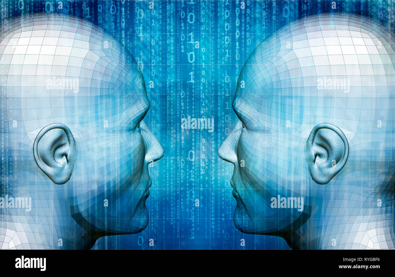 male humanoids head as concept for Artificial Intelligence, future generations of humans and digitally created personas Stock Photo