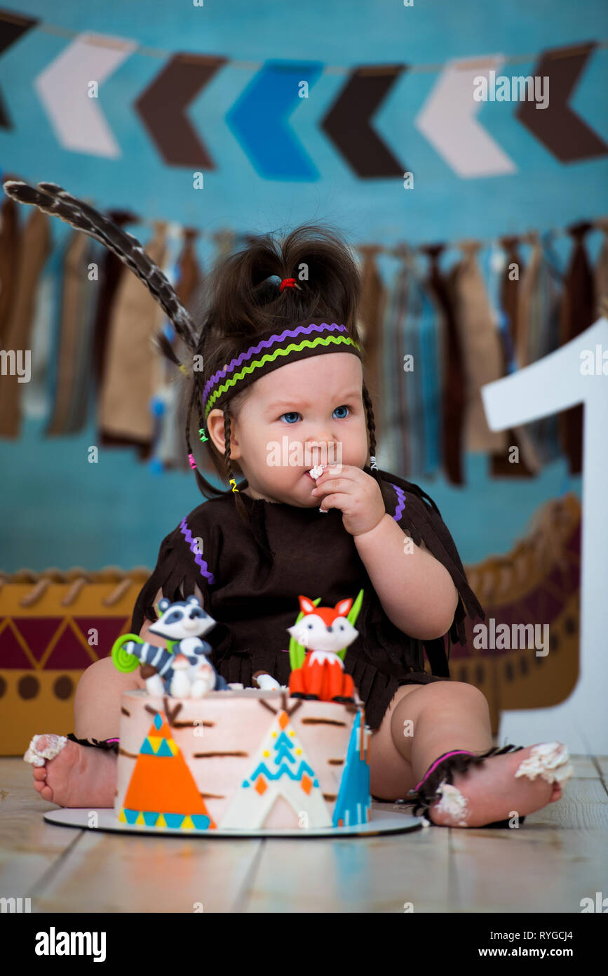 Super Little Cute Girl In Costume Of Apache Indian Chief And In A Personalised Birthday Cards Xaembasilily Jamesorg