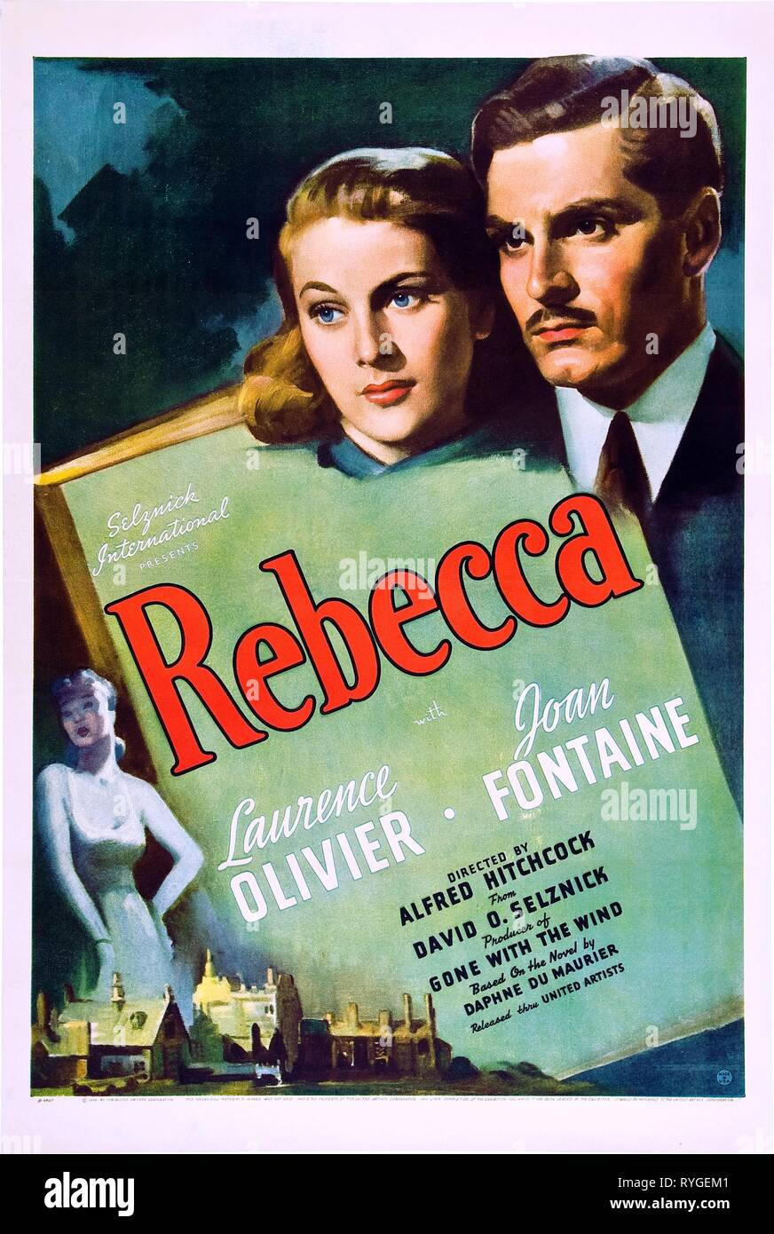 JOAN FONTAINE, LAURENCE OLIVIER POSTER, REBECCA, 1940 - Stock Image