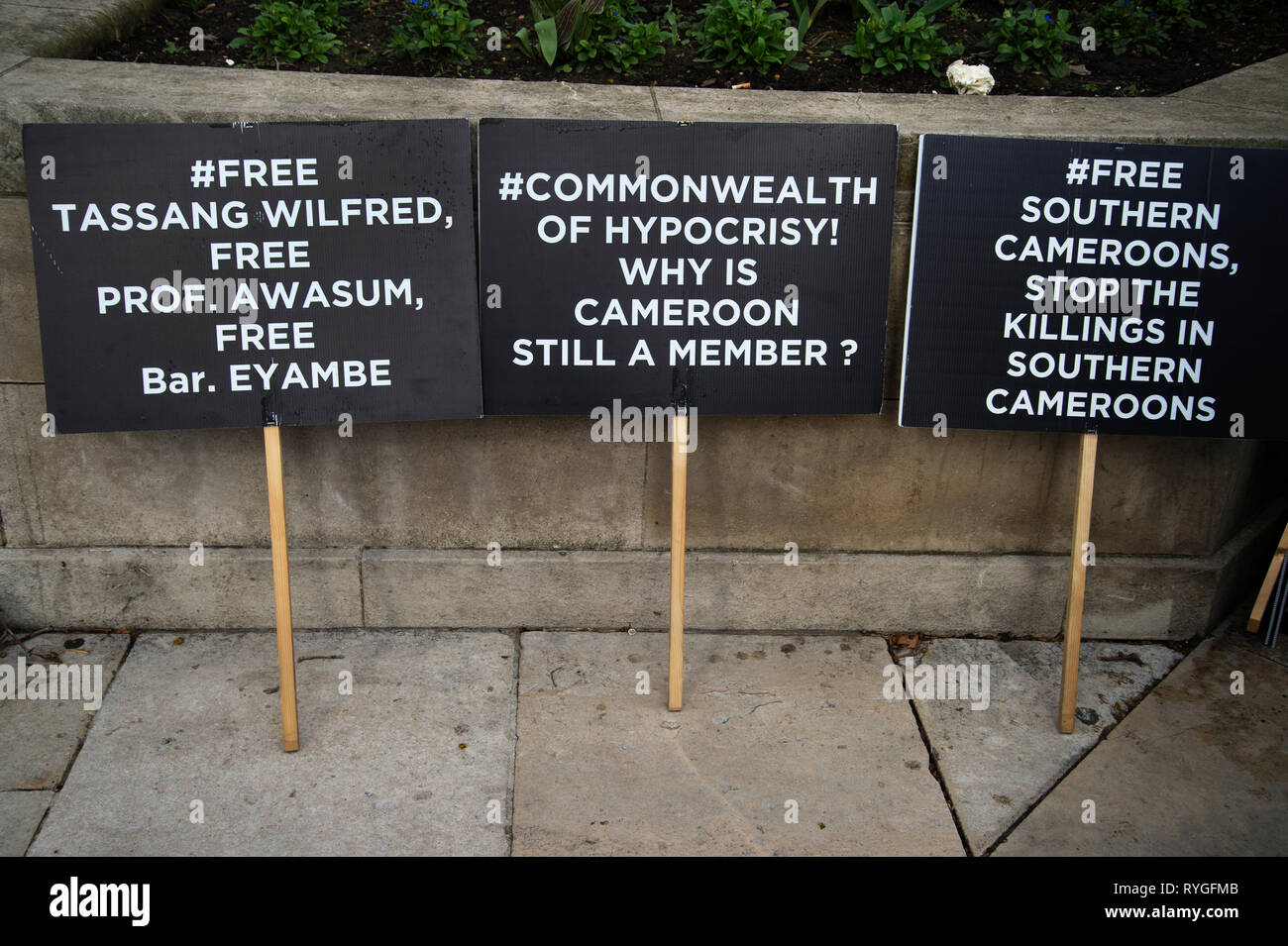 Monday March 11th 2019. Parliament Square. Commonwealth Day. Protest by English speaking Cameroon against the political situation there. - Stock Image