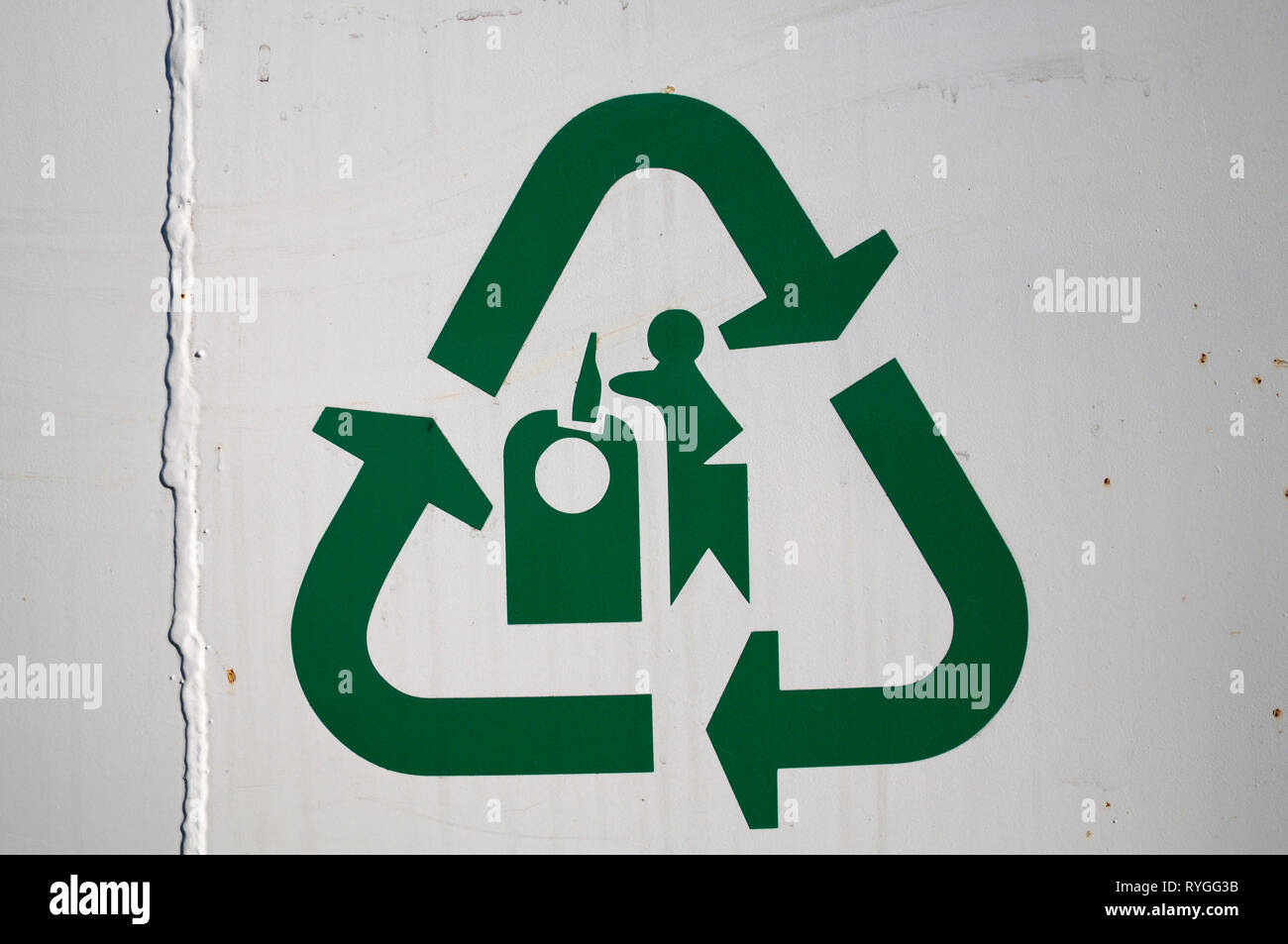 Glass recycling symbol with mobius loop - Stock Image