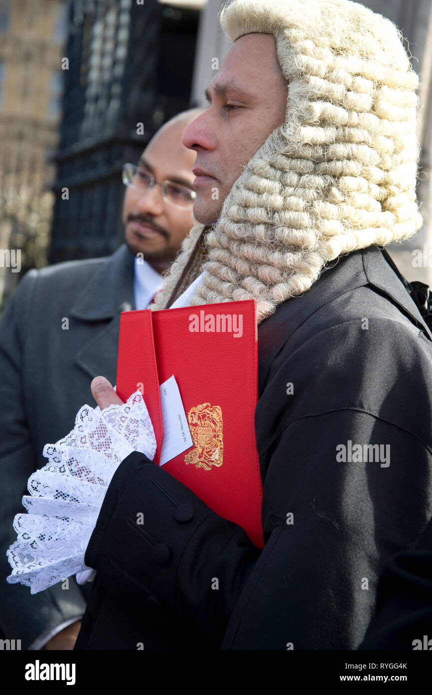 Monday March 11th 2019. Parliament Square. Newly appointed Queens Counsel Mozamel Hossain, the 3rd Bangladeshi British QC - Stock Image