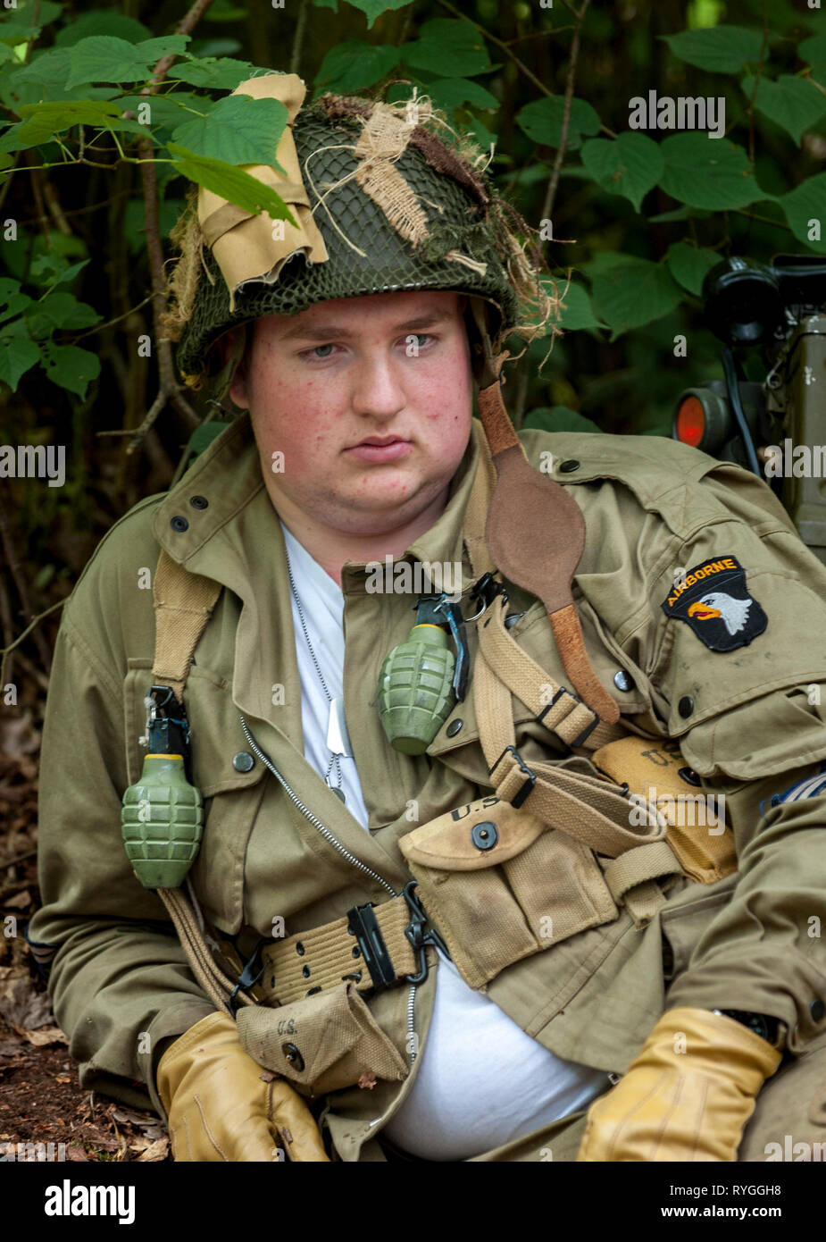 Woodhall Spa 1940s Festival - portrait of an American soldier from 82 Airborne Diviasion of World War 2 Stock Photo