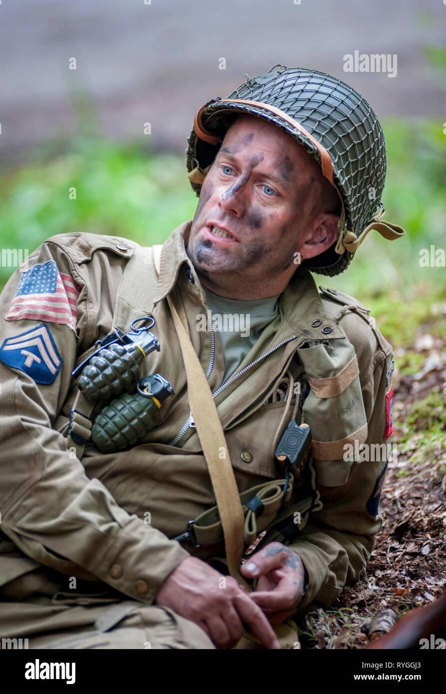 Woodhall Spa 1940s Festival - Woodhall Spa 1940s Festival - portrait of an American soldier an Airborne Diviasion of World War 2 Stock Photo