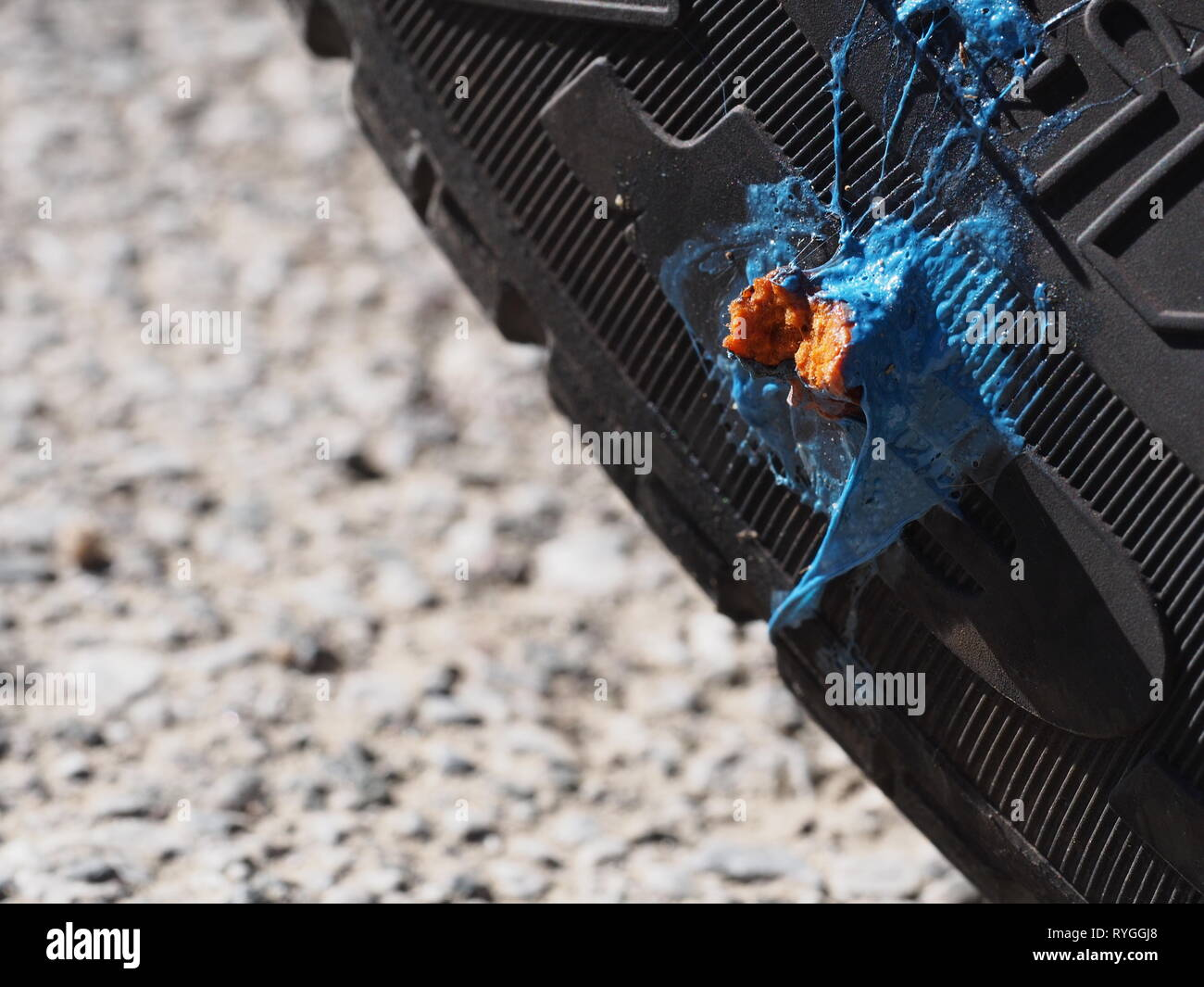 MASSA CARRARA, ITALY MARCH 12 15, 2019: Car tyre puncture repair, not beautiful but a practical solution to thorn stuck in side. - Stock Image
