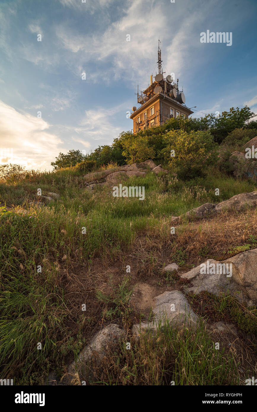 Television tower located on Sahat tepe hill in Plovdiv city, Bulgaria Stock Photo