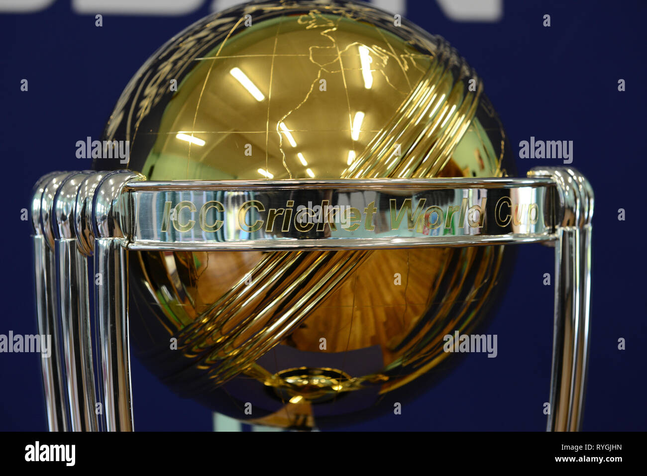 2019 icc cricket world cup trophy tour at aylestone school hereford stock image