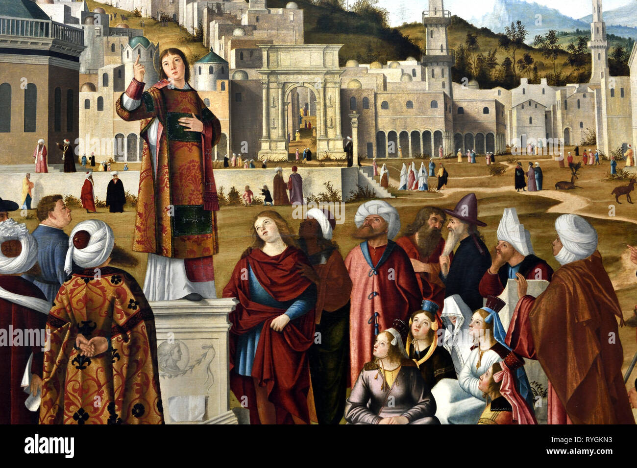 Saint Stephen died 35 as protomartyr preaching in Jerusalem Israel 1514 by CARPACCIO, Vittore Known in Venice in 1472 - 1525/1526, Italian, Italy, - Stock Image