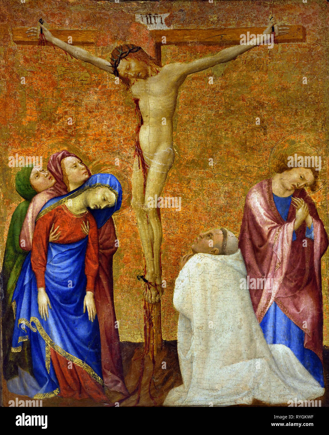 The Crucifixion with a Carthusian Monk, 1389 -1395, Jean de BEAUMETZ,  documented, from 1361 – 1396 France, French. ( Painted for the cells of the monks and the prior at the Charterhouse of Champmol, near Dijon, and commissioned by the Duc de Bourgogne, Philippe le Hardi. ) - Stock Image