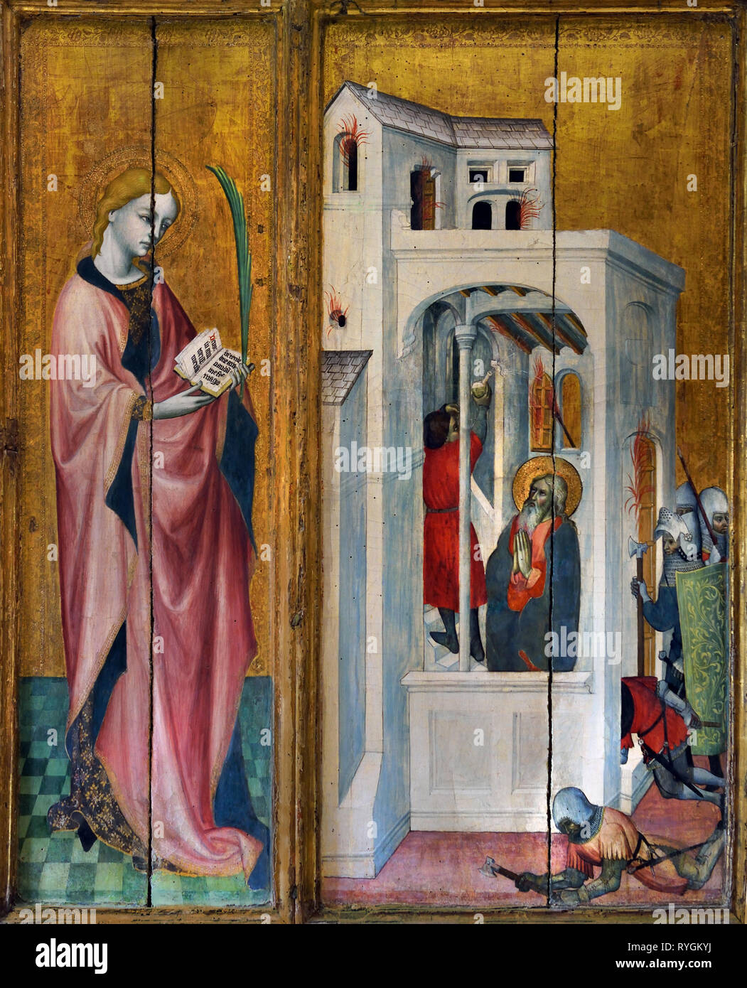 The Thouzon Altarpiece ( young female martyr and Sebastian ) 1410, Jacques Yverni, 1410-1438, France, French, ( The Cult of St. Sebastian) - Stock Image