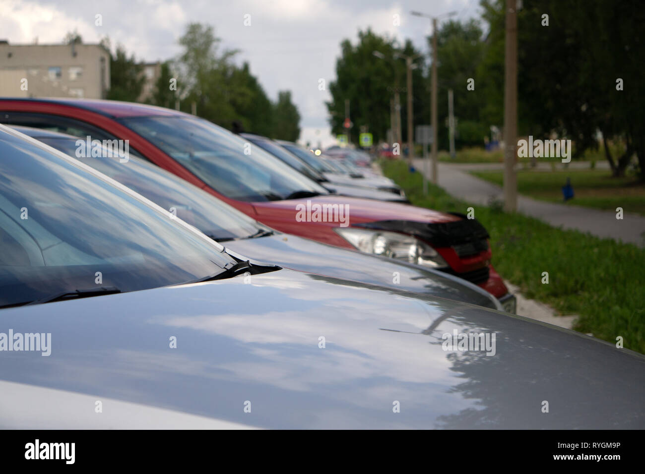 Cars For Sale Stock Lot Row bonnet Stock Photo: 240697682