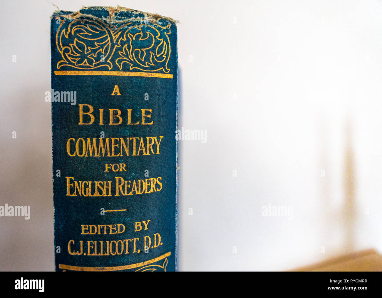 Close up of the book spine on an Antique Book of Bible