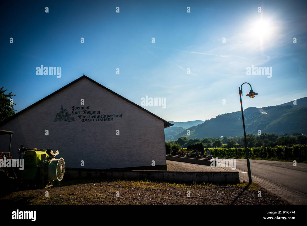Sunset view near the Braunebreg village, at Mosel river, Germany - Stock Image