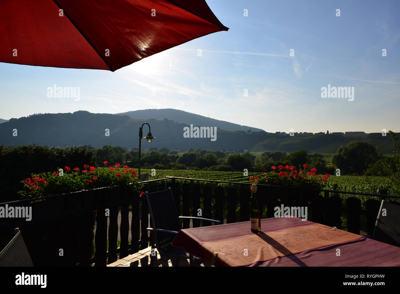 View from hotel near the Braunebreg village, to  Mosel river valley, Germany - Stock Image