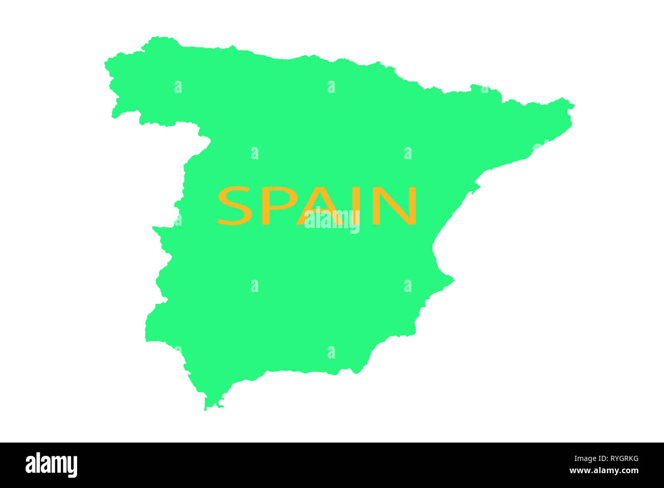 Map Of The World Spain.Spain On The Map United Vision World Yellow Stock Photo 240700308