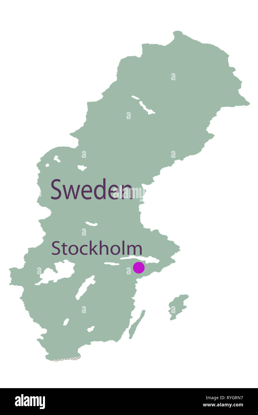 Ancient World Map of Sweden unhygienic yellow - Stock Image