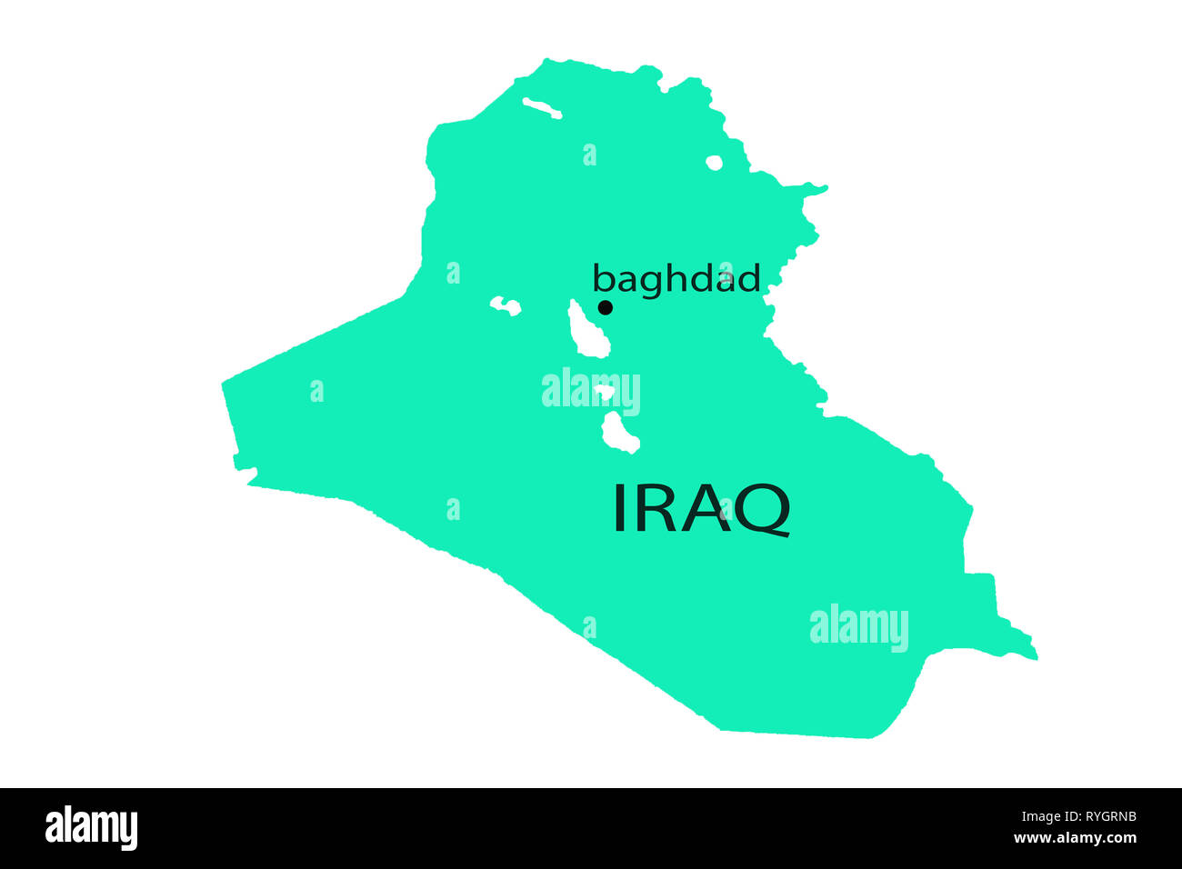 Iraq on the Map great realistic sphere asia - Stock Image