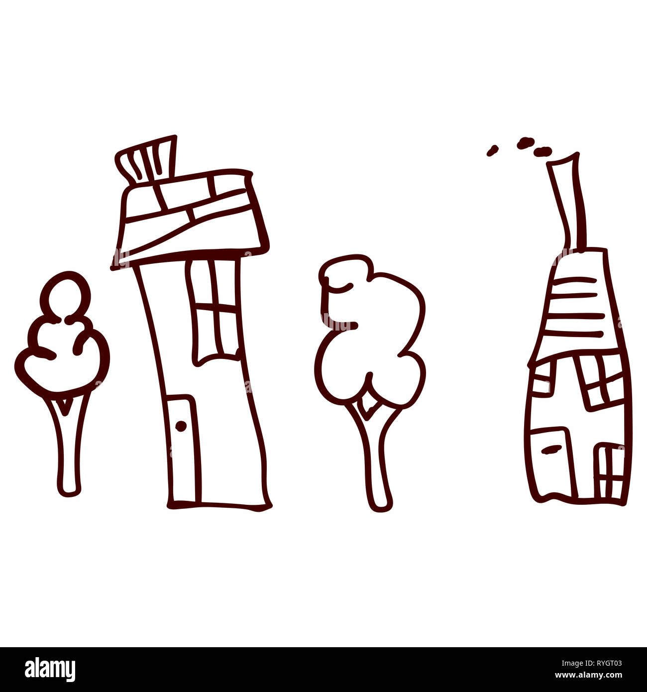 Children drawn houses and plants in doodle style. Contoured and isolated.  illustration - Stock Image