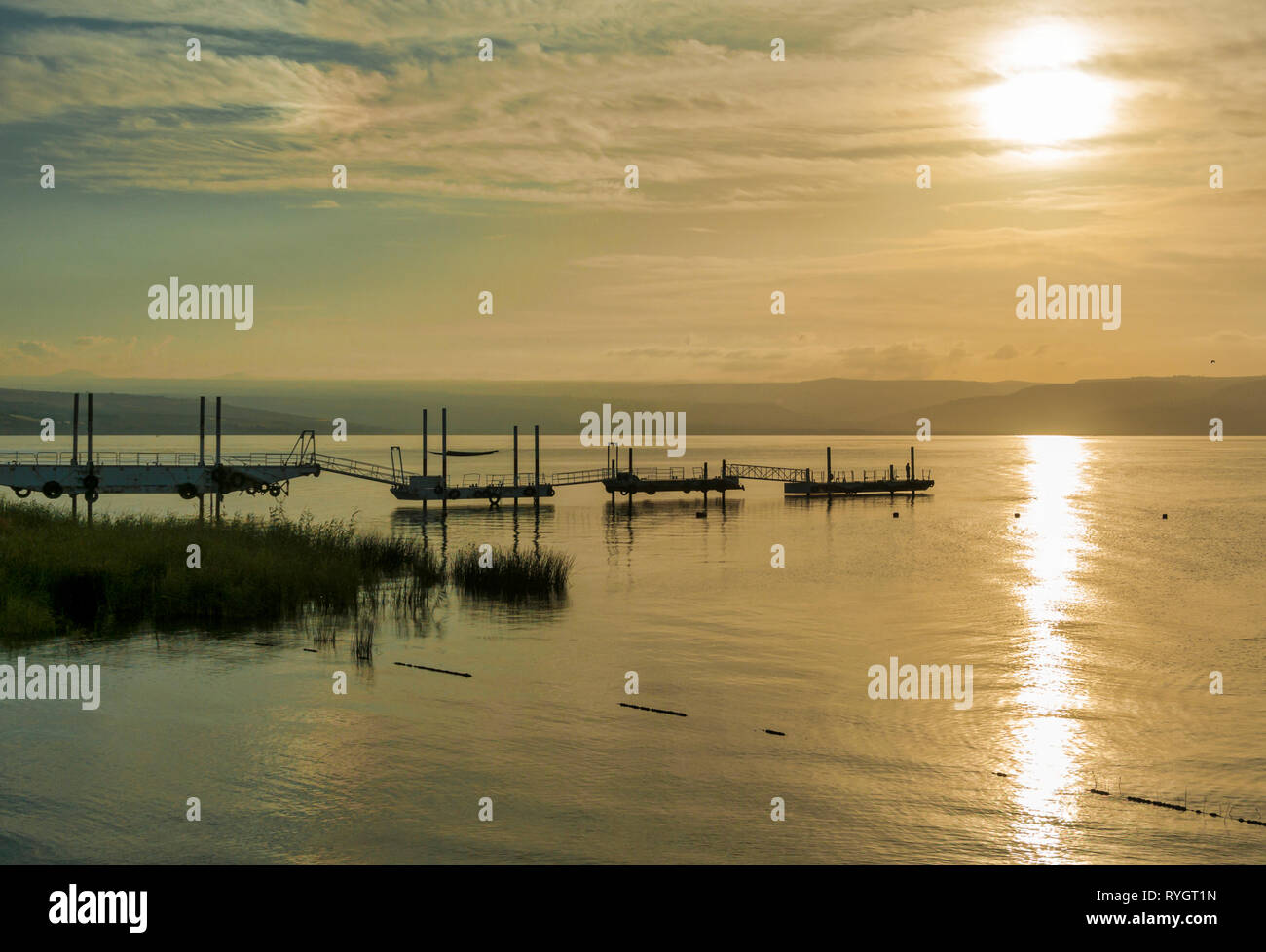 sunset over the lake of galilee or lake tiberias, know from the bibe, where Jesus walked on the water Stock Photo