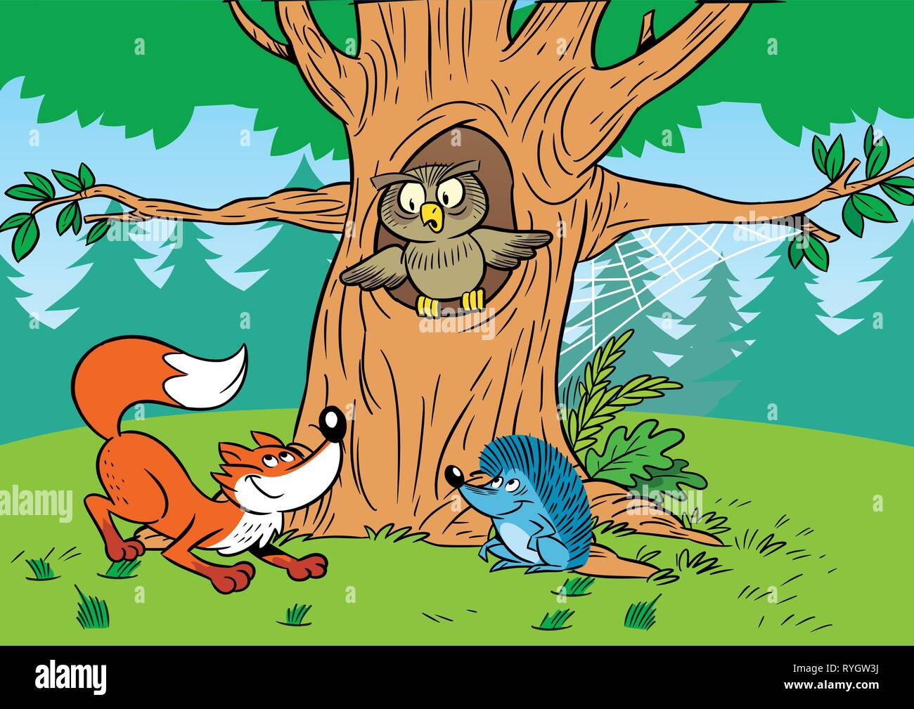 In the illustration cartoon animals in the forest. Stock Vector