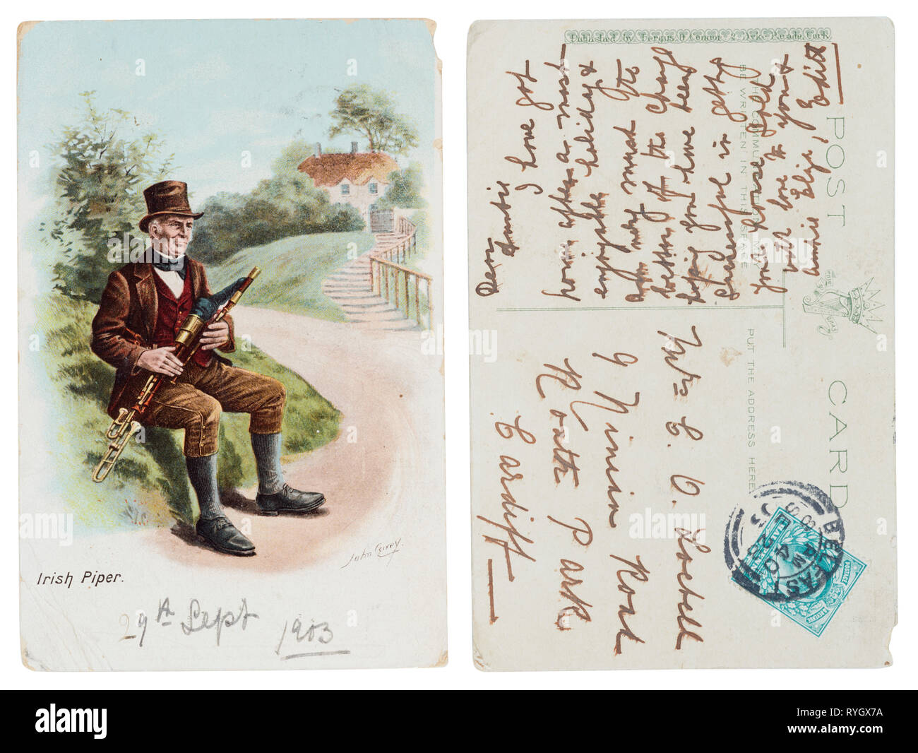 Postcard of an Irish Piper illustration sent to Cardiff from Belfast in 1903 - Stock Image