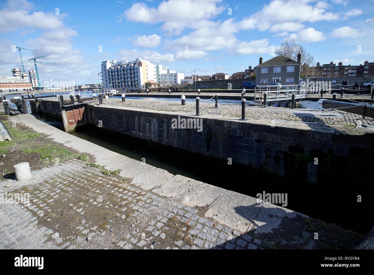 Westmoreland Lock built in 1796 Buckingham Lock and Camden Lock  part of the grand canal docks lock gates Dublin Republic of Ireland Europe - Stock Image