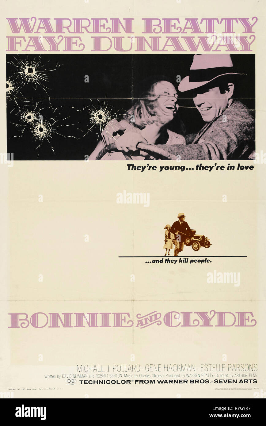 WARREN BEATTY, FAYE DUNAWAY POSTER, BONNIE AND CLYDE, 1967 - Stock Image