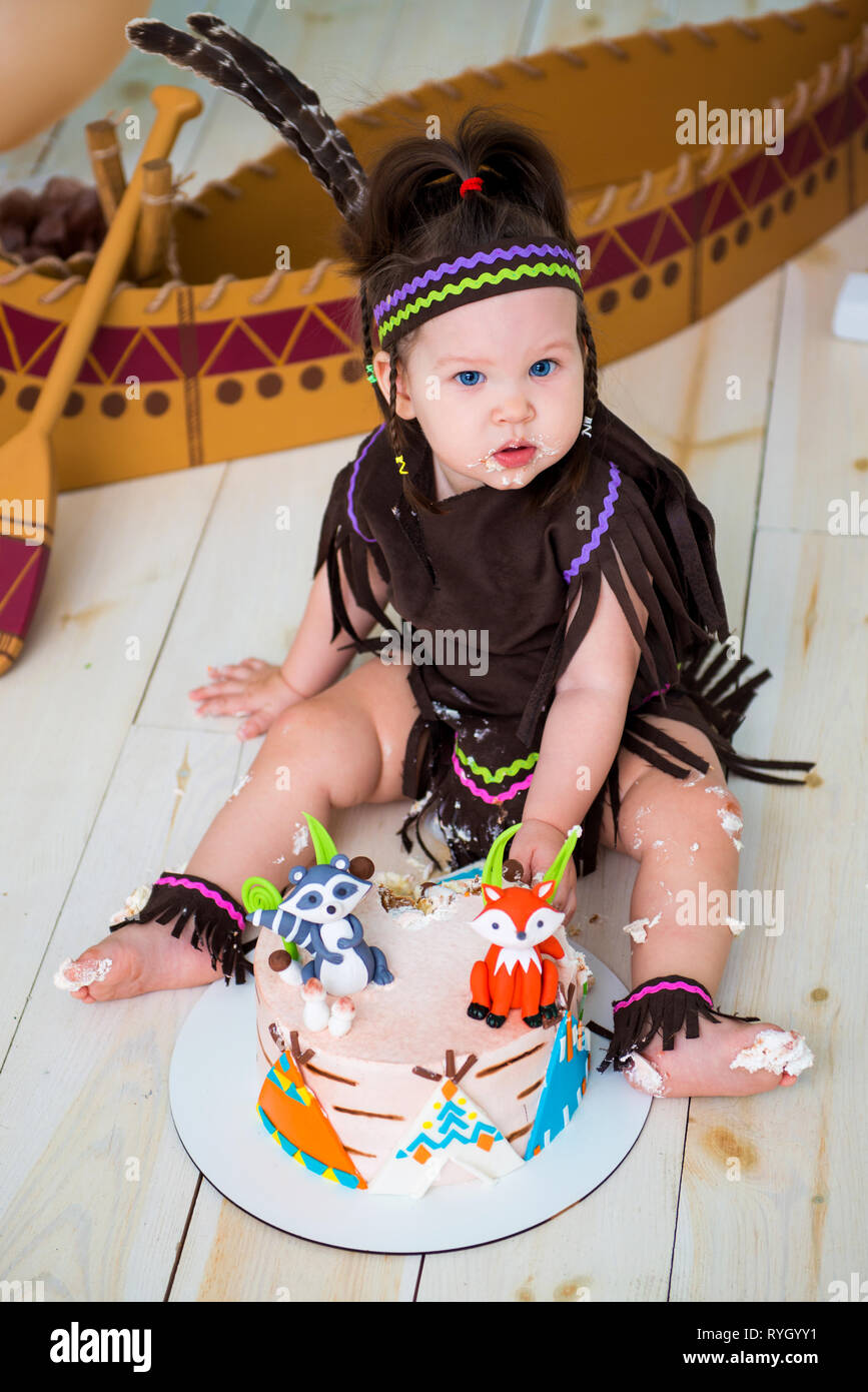 Pleasing Little Cute Girl In Costume Of Apache Indian Chief And In A Personalised Birthday Cards Xaembasilily Jamesorg