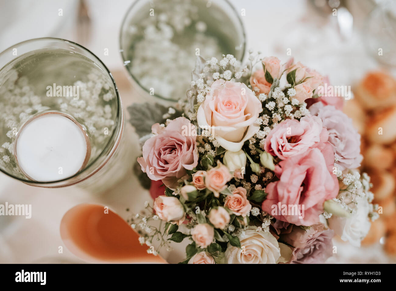Colorful Flower Wedding Center Piece Decoration With Pink And White Roses Stock Photo Alamy