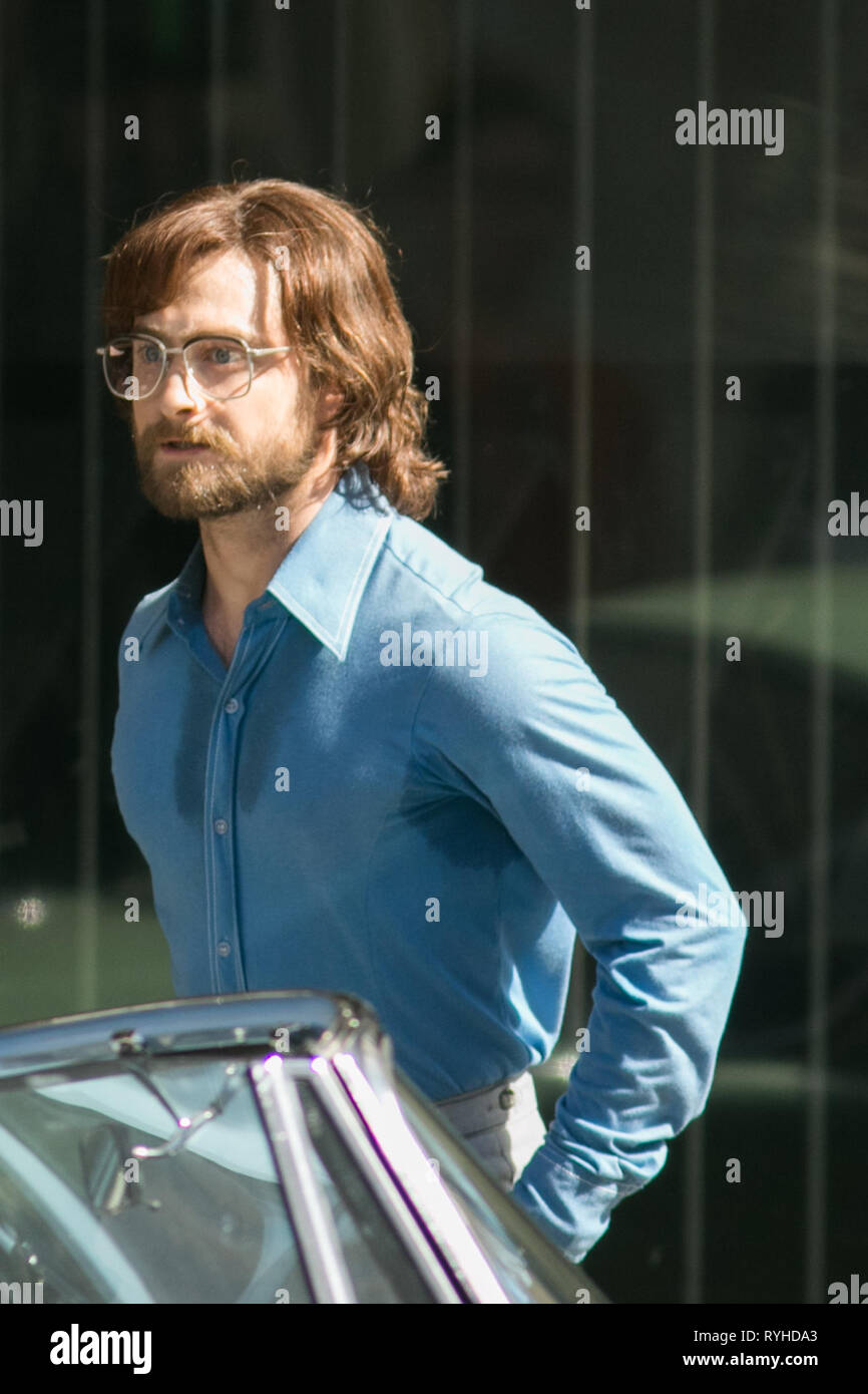 Adelaide Australia. 13th March 2019. British actor Daniel Radcliffe on the film set in Adelaide in his new acting role as an Anti-Aprtheid activist in 'Escape from Pretoria Africa in 1978 based on  based on a book by Tim Jenkin and is set during the Apartheid era in Capetown, South Africa about two white South Africans, Tim Jenkin and Stephen Lee, who were jailed in 1978 for producing and distributing anti-apartheid messages Credit: amer ghazzal/Alamy Live News - Stock Image