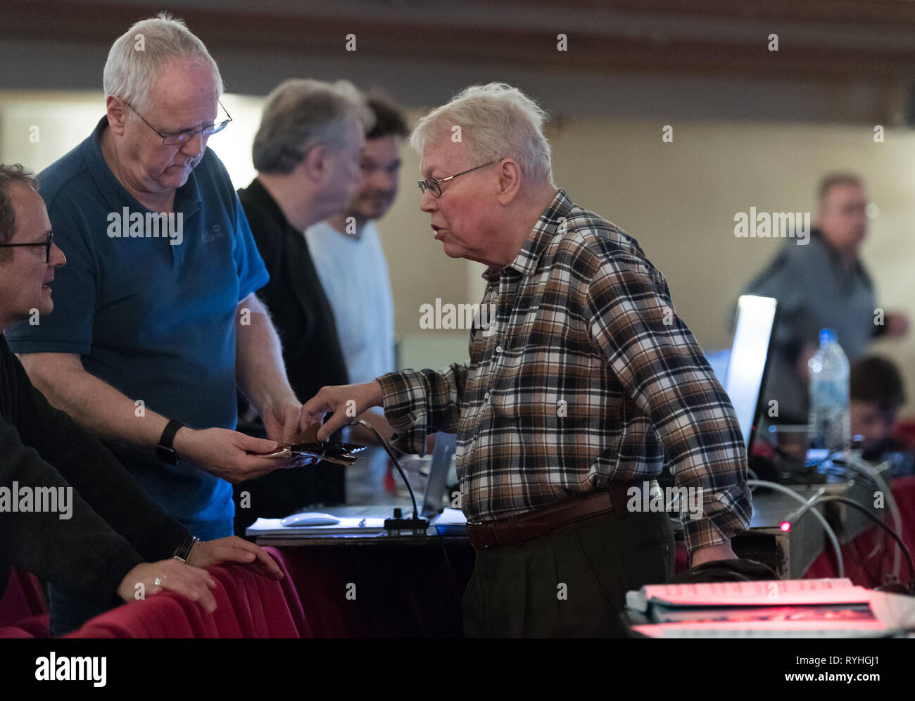 Berlin, Germany. 13th Mar, 2019. Director Harry Kupfer (r) during the photo rehearsal of Handel's opera 'Poros' at the Komische Oper. Premiere is on 16.03.2019. Credit: Soeren Stache/dpa/Alamy Live News - Stock Image